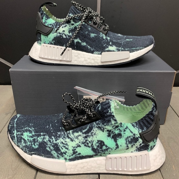 check out a5f70 5cbb2 Adidas NMD R1 Primeknit Mint Marble Running Shoes
